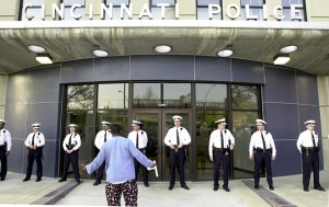 040901 M law&safety-Cincinnati cops were placed out front of District 1. Melvin Grier Photo